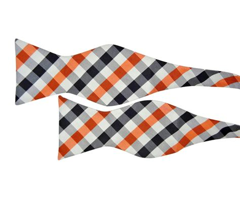 Hq 11336 Bow Scarf Sweater Grey silver bow tie with orange and black check