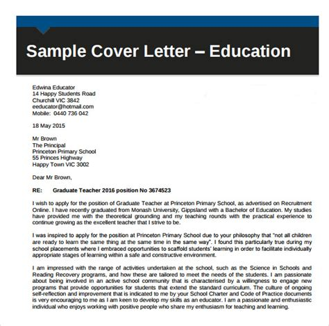 Cover Letter Template Education Sle Education Cover Letter Exle 9 Free