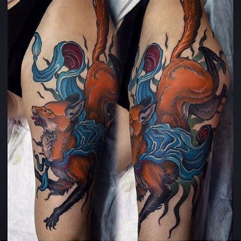 new school fox tattoo new school style colored thigh tattoo of fox with ribbon