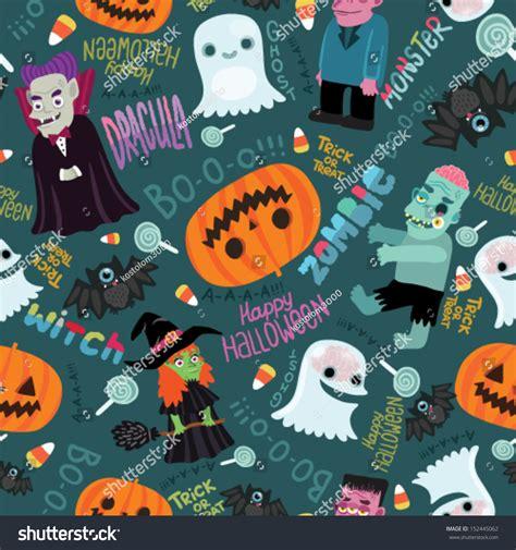cute zombie pattern happy halloween seamless pattern cute vector stock vector