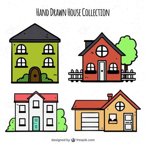 pack casa pack de casas dibujadas a mano descargar vectores gratis