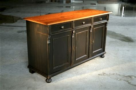 black barn wood buffet with black base and fruitwood