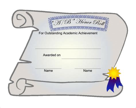 a b honor roll certificate template 9 printable honor roll certificate templates free word