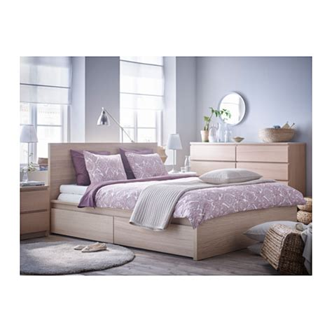 malm bed malm bed frame high w 4 storage boxes white stained oak