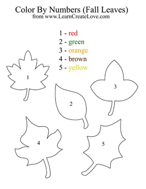 printable leaves with numbers color by numbers fall leaves