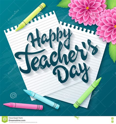 teachers day vector hand drawn teachers day lettering greetings label