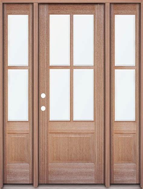 4 Lite Exterior Door Discount 4 Lite Mahogany Prehung Wood Door Unit With Sidelites