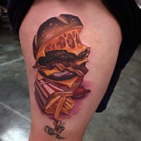 burger tattoo 90 food tattoos for delicious design ideas