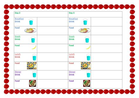 printable diary ks2 food diary template with pictures by lexhg teaching
