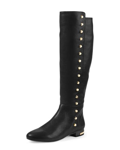 michael michael kors ailee flat studded knee boot in black