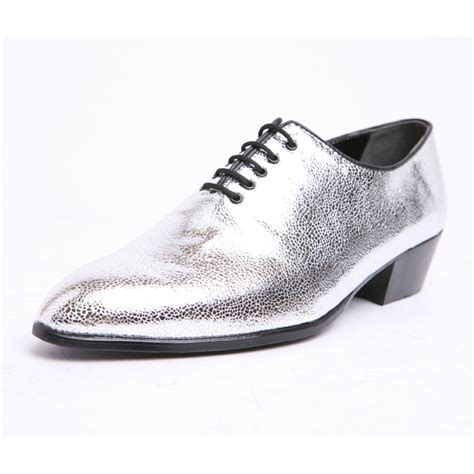 silver glitter oxford shoes mens pointed toe glitter silver lace up high heels oxfords