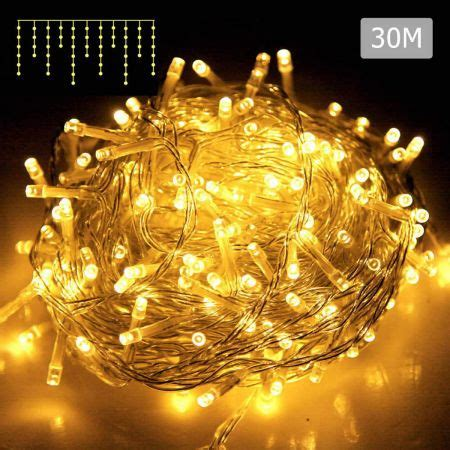 800 led icicle lights warm white with 8 lighting effects