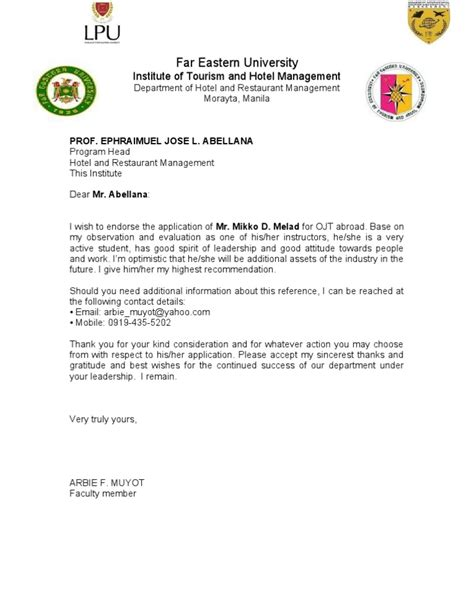 Sle Evaluation Letter For Ojt Recommendation Letter For Ojt 2