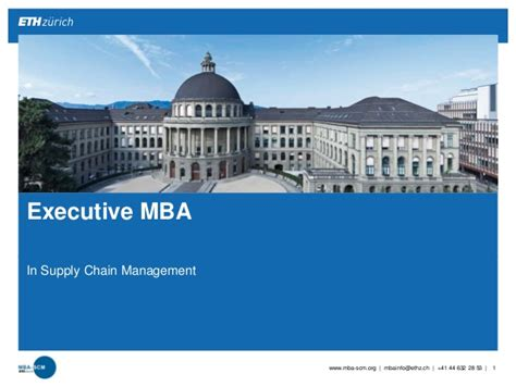 St Executive Mba by Mba Eth Scm Program