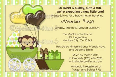 monkey baby shower invitation carriage mpp yellow green