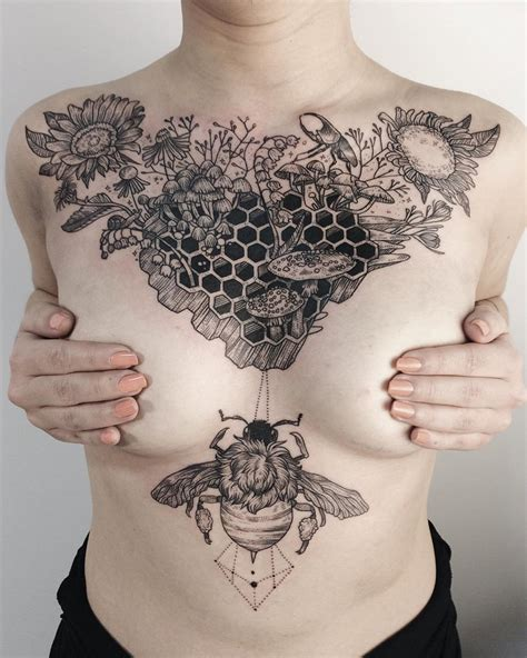 sternum tattoos honeycomb on chest best design ideas