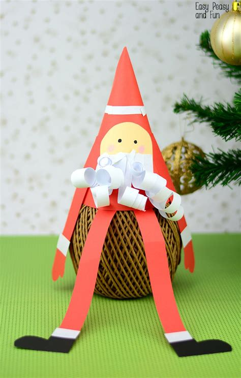 paper cone santa craft christmas crafts  kids easy