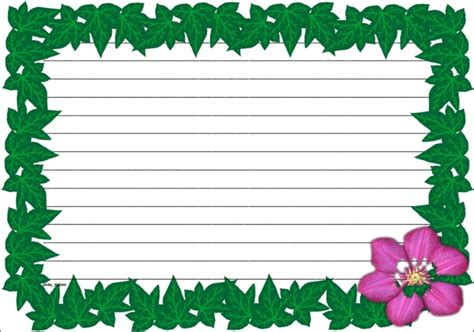 lined paper with science border a set of spring time themed lined paper and page borders