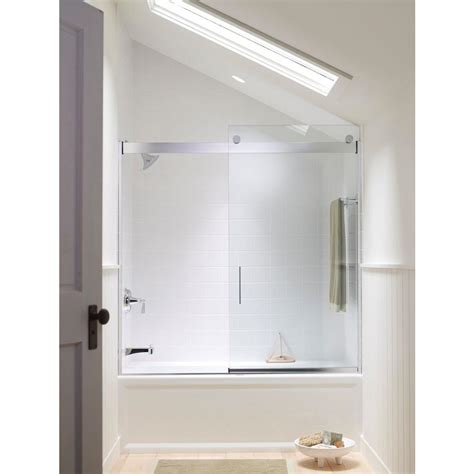 bathtub glass shower doors kohler levity 59 5 8 in x 59 3 4 in semi frameless sliding bathtub door in silver with handle