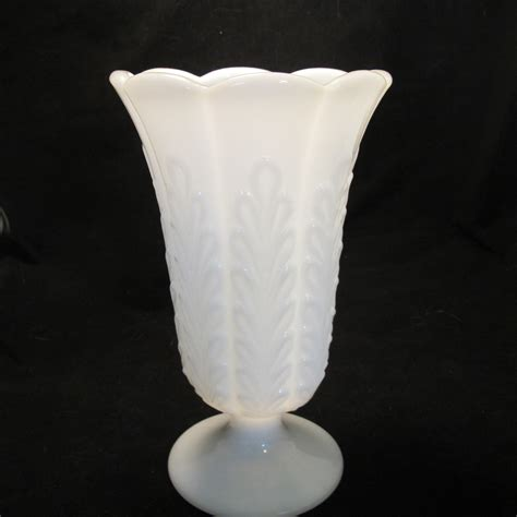Pedestal Glass Vase by Vintage Oak Leaf Pedestal Milk Glass Vase Wedding Decor