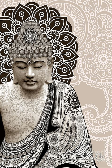 Tibetan Home Decor by Meditation Mehndi Paisley Buddha Artwork Copyrighted