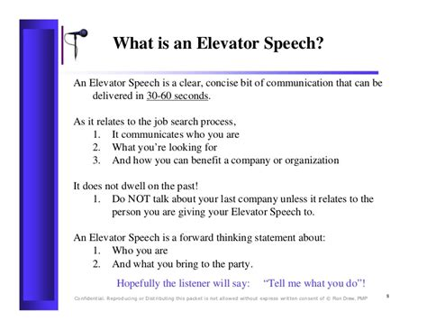 60 Second Elevator Speech Sles rdrew elevator speech