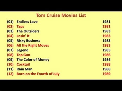 best movies tom cruise list tom cruise movies list youtube