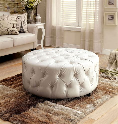 white round tufted ottoman latoya white bonded leather round button tufted ottoman