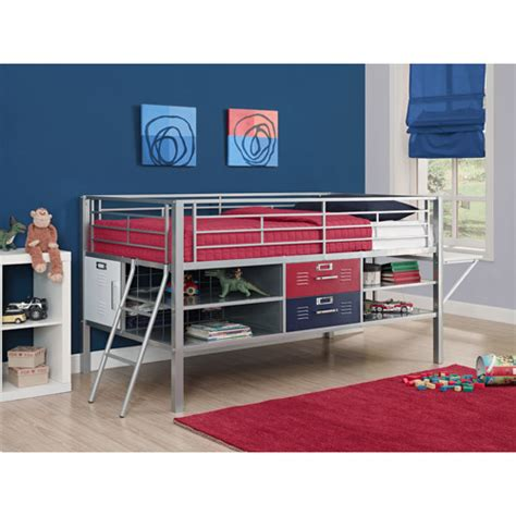 locker bedroom set junior twin locker loft with shelves and storage red blue