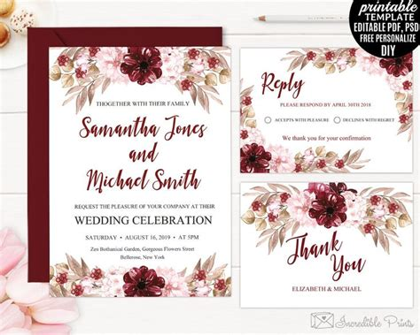 Marsala Wedding Invitation Set Template Printable Burgundy Bohemian Bordo Red Floral Flower Maroon Wedding Invitation Templates