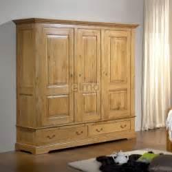 armoire de chambre ch 234 ne massif 3 portes 2 3 penderie 1 3