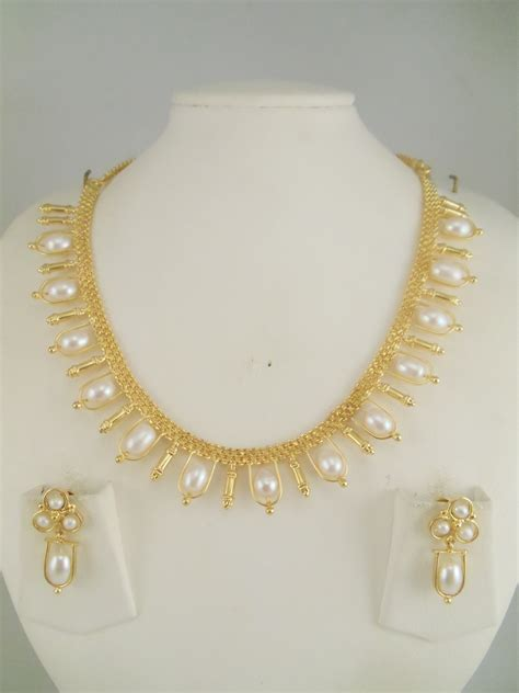 pearls with gold 1gm gold jewelry necklace sets
