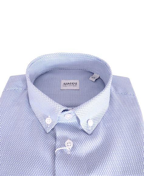 pattern shirt with white collar armani collezioni blue pattern button down collar shirt