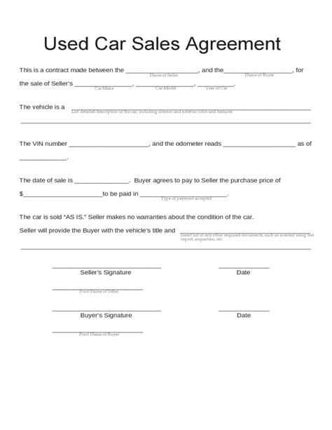 Blank Used Car Sales Agreement Free Download Tletes Pinterest Car Sales Free Bill Of Sales Template For Used Car As Is