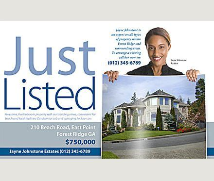 just listed postcard template pin by prestige print on real estate postcards