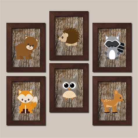 Woodland Nursery Decor Woodland Wall Art Woodland Nursery Woodland Animals Nursery Decor