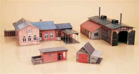 Paper Model - auhagen station set paper model eurotrainhobby