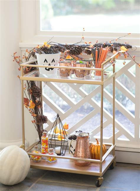 how to decorate a bar decorate your bar cart for halloween fashionable hostess