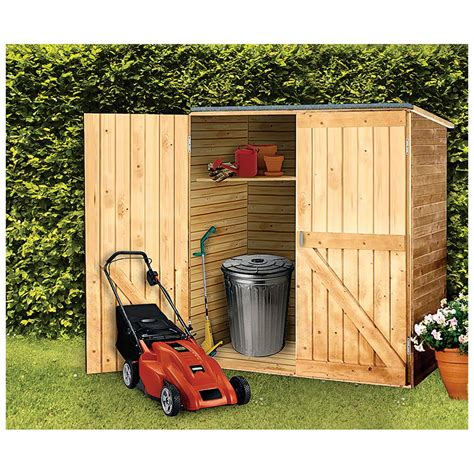 solid wood outdoor storage shed  patio storage  sportsmans guide