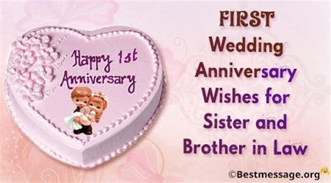 Short 1st Wedding Anniversary Wishes for Sister and