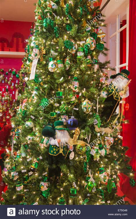 festive green and gold christmas decorations with an irish