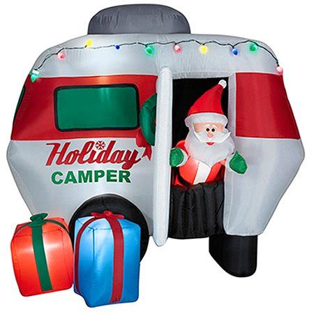 gemmy 6 inflatable santa in rv 87076 gemmy industries g08 85770x 6 5 ft animated airblown santa in cer walmart