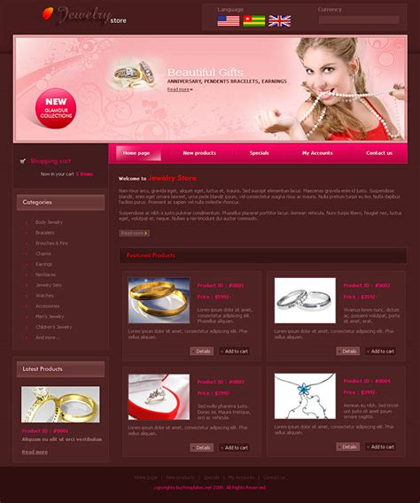 templates for web pages free frontpage templates web for jewellery stores