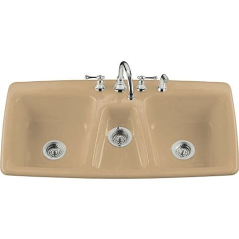 three basin kitchen sink kohler basin cast iron kitchen sink from the trieste series k 5914 4 free shipping