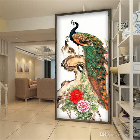 vintage peacock wallpaper peony flower wall mural  photo