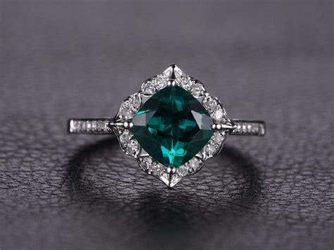 emerald engagement ring cushion cut ring 14k white gold