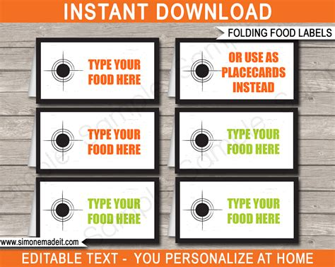 food label cards template laser tag theme food labels place cards laser tag