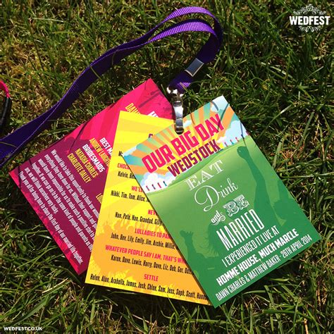 WEDSTOCK Festival Wedding Programme Lanyards   WEDFEST