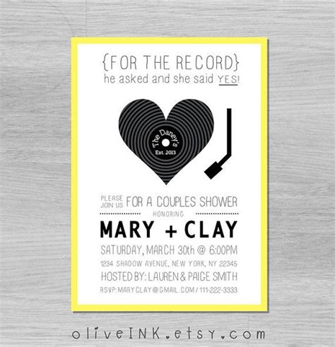 printable record invitations record player music couples wedding shower invitation