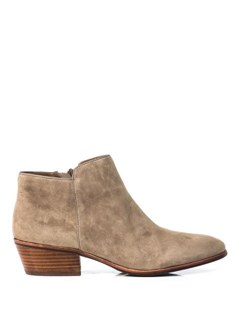 suede boots sam edelman petty suede ankle boots in beige neutral lyst